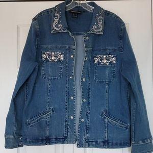 Christine Alexander denim jacket snap front size L